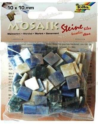 Mozaika pryskyřicová, 10x10 mm, modrý mramor