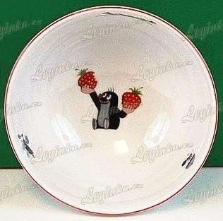 Krteček a jahody, porcelánová miska polévková