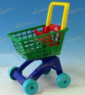 Nákupní vozík, zeleno-modrý