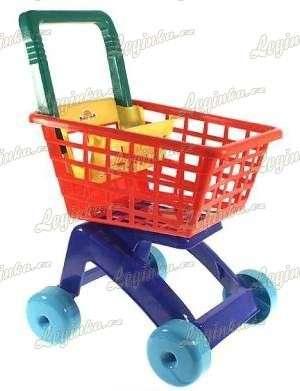 Nákupní vozík, červeno-modrý