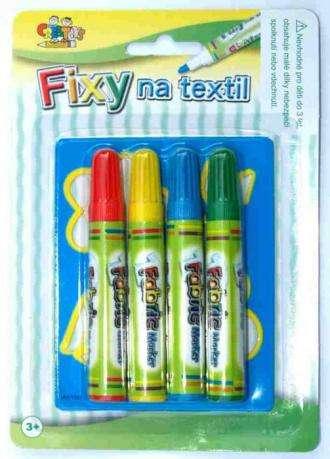 Fixy na textil 4 ks+šablona