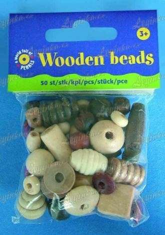 Korálky, malé dřevěné, 50 ks, mix přírodní