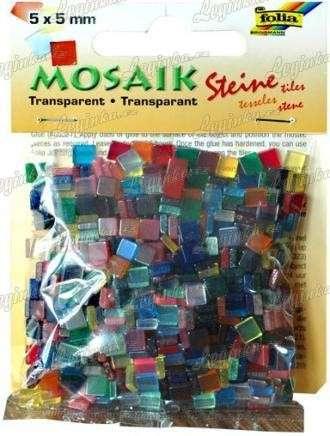 Mozaika průhledná, mix barev, 5x5 mm