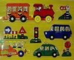 Puzzle dřevěné, auta, 30 cm