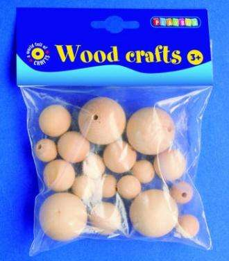 Dřevěné kuličky, 18 ks