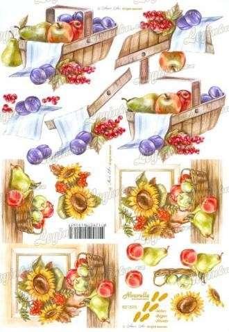3D Papíry na vystřihování, Slunečnice a ovoce