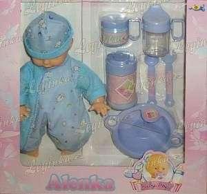 Miminko s doplňky, 28 cm, modré oblečení