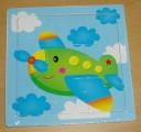 Puzzle dřevěné, 9 dílků, letadlo