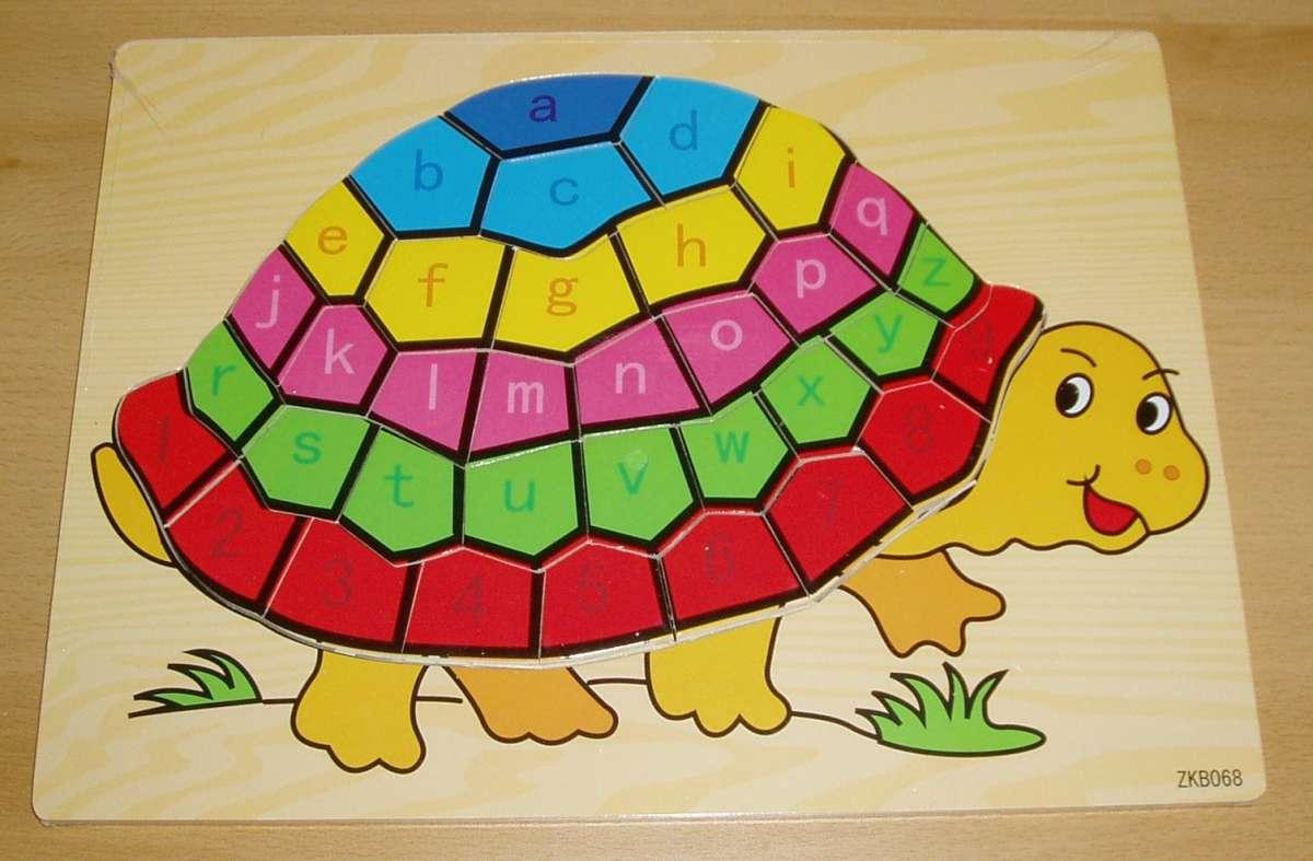 Puzzle dřevěné, želva abeceda