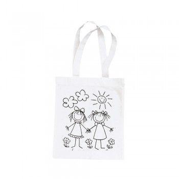 Bavlněná taška, malá, 25x21 cm, motiv kamarádky, barva přírodní