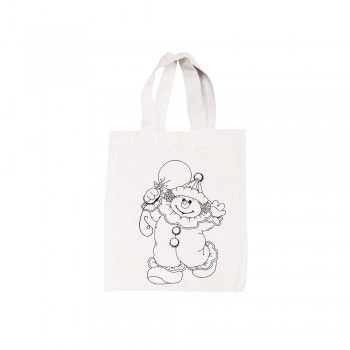 Bavlněná taška, malá, 25x21 cm, motiv klaun, barva přírodní