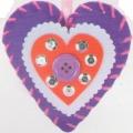 První šití, filcové srdíčko k zavěšení, 1 ks, barva fialová