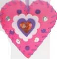 První šití, filcové srdíčko k zavěšení, 1 ks, barva růžová