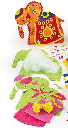 První šití, orientální slon oranžový 20x20 cm