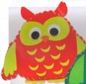 První šití, sova velká, červená
