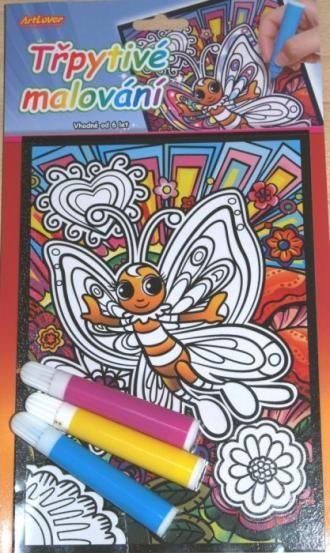Třpytivé malování, motýl, rozměr 15x21 cm