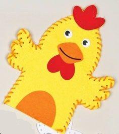 První šití, maňásek z filcu, 1 ks, kuře