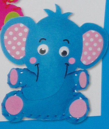 První šití, slon, 1 ks, barva modrá