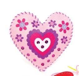 První šití, srdce, růžové, 1 kus