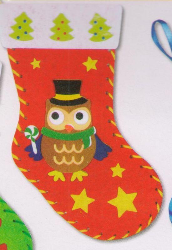 První šití, vánoční punčocha s motivem sovičky, barva červená, 1 ks