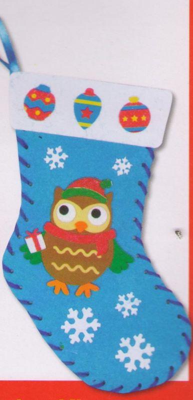 První šití, vánoční punčocha s motivem sovičky, barva modrá, 1 ks