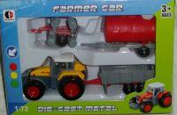 Traktor kovový a 3 vleky